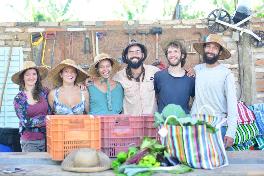 Equipe do Fazenda Malabar e o sistema de Comunidade que Sustenta a Agricultura (CSA): quem compra garante uma encomenda mensal das cestas de alimentos orgânicos. Crédito: Divulgação.